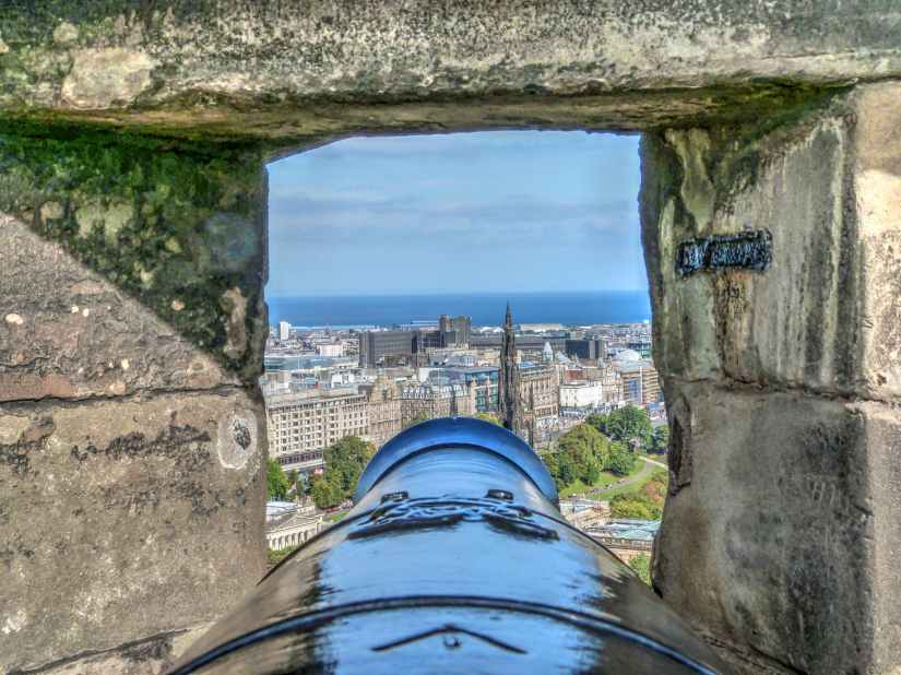 selective focus photography of cannon and buildings